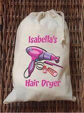 PERSONALISED - HAIR DRYER BAG - NATURAL COTTON DRAWSTRING BAG