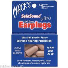 Macks Ultra SafeSound Foam Earplugs x 10 Pair (FREE UK P&P)