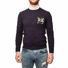 Maglioncino Uomo Blu Giro Collo Maglione Aderente Elegante Pullover slim fit