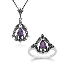 Sterlingsilber Amethyst Viktorianischer Stil 45cm Halskette und Ring Set