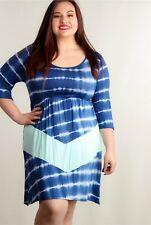 Celeste Women's Navy Blue/White/Mint Elastic Waist Tie Dye Dress Size 1X, 2X, 3X