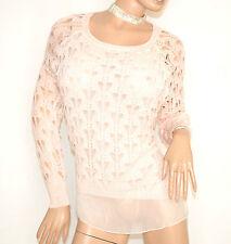 MAGLIA FILO ROSA CIPRIA donna manica lunga maglietta maglioncino sottogiacca F5
