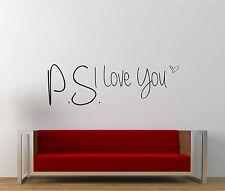 P.s I LOVE Usted Brillo Vinilo de Pared Decal Sticker * romance Hogar Feliz Familia *