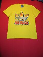 adidas originals retro Trefoil Camiseta T-shirt Algodón S M L XL amarillo NUEVO
