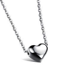 Edelstahl Halskette Herz Anhänger 41+5 cm Kette 2 Farben Schmuck necklace NEU