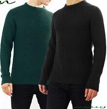 NEW Mens CREW Neck WOOL MARL Knitwear Jumper Sweater By Brave Soul BLACK STITCH