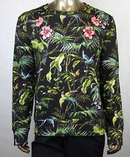 $1200 Gucci Men Black/Green Tropical Jungle Felted Cotton Sweatshirt 408241 3118