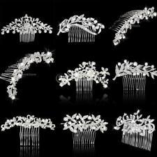 Wedding Luxury Crystal Flower Silver Fascinator Hair Pin Clip Dress Comb
