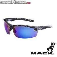 MACK FORCE BLACK CAMO FRAME BLUE REVO MIRROR SAFETY / SUN GLASSES- 1,3 or 8 Pack