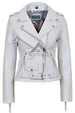 'CLASSIC BRANDO' Ladies White Biker Style Motorcycle Cruiser Hide Leather Jacket