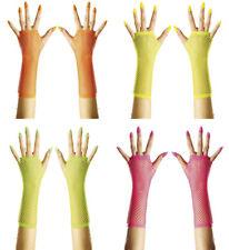 Neon Netzhandschuhe Netz Handschuhe 70er 80er Kostüm Accessoire 129231313