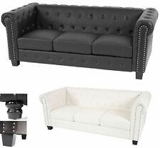 Luxus 3er Sofa Chesterfield, Loungesofa Couch, Kunstleder runde oder eckige Füße