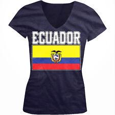 Ecuador Flag Colors Font Ecuadorian Country Soccer ECU EC Juniors V-Neck T-Shirt
