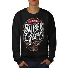 Wellcoda Super Girl Mens Sweatshirt, Hero Women Casual Pullover Jumper