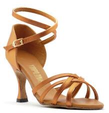 Señoras Bronceado o el salón de baile latino Negro Zapatos por Topline Katz Anna todos Tacones