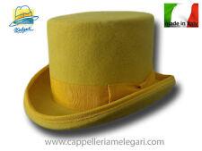 Cappello a cilindro giallo in feltro di lana
