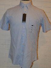 Men's Van Heusen Light Blue & White Plaid Short Sleeve Button Front Shirt Small