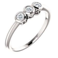 Charles & Colvard Moissanite® Three-Stone Bezel Set Ring In 14K White Gold
