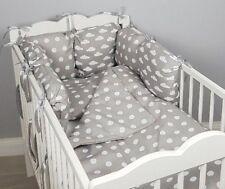 8 pc cot /cot bed bedding sets PILLOW BUMPER + CASES grey polka dots clouds