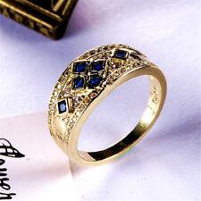 Women 18K Yellow Gold Filled Blue Crystal Rings Men Rings JZ019