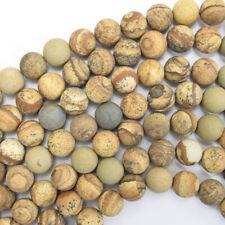 """Matte Picture Jasper Round Beads Gemstone 15.5"""" Strand 4mm 6mm 8mm 10mm 12mm"""