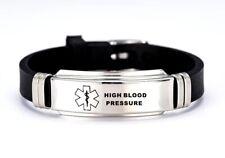 High Blood Pressure Medical Alert Bracelet Stainless Steel Adjustable Engraved