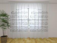 """Fotogardinen aus Chiffon """"Noten"""", Vorhang mit Motiv, Fotodruck, auf Maß"""