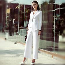 73aa9033bfad2 tailleur giacca donna slim corta manica lunga pantaloni bianco elegante 4915