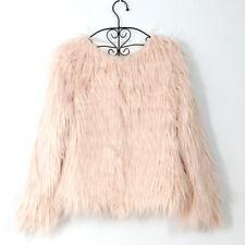 Winter Ladies Shaggy Mongolian Faux Fur Open Front Short Jacket Soft Fluffy Coat
