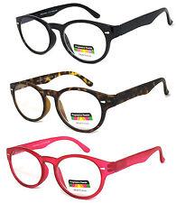 Round Keyhole No Line Progressive Lens Reading Glasses Silver Rivet Spring Hinge
