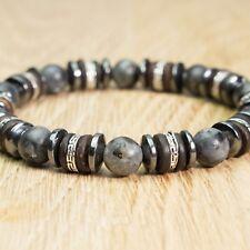 Bracelet Homme perles pierre Larvikite Labradorite Gris Bois Cocotier Hématite