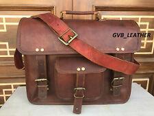 Leather Messenger Bag Briefcase Portfolio Office Bag Padded Protection Laptop