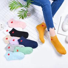 Women's Cute Red Heart Pattern Soft Casual Low Cut Cotton Ankle Socks