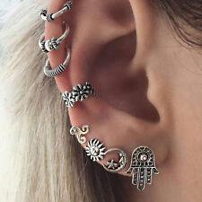 Bohemian Sun Crescent Hand of Fatima Charm Ear Stud Carved Ear Cuffs Earring Set