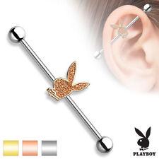 industrale Piercing a bilanciere Playboy in acciaio chirurgico 316L - Cristallo