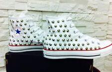 Scarpe Converse Bianche Bianco High Alte con Borchie Argento Skull Studs Clean
