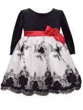 Bonnie Jean Baby Girl Black White Long Sleeve Embroidered Velvet Dress 0-3M  24M