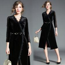 ba19d7bf0372 vestito corto abito scampanato donna elegante nero velluto moda manica 4781