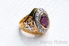 Men's Clergy Bishop Ring, (Mercy2013 (G-P), Genuine Amethyst, Swarovski Stones