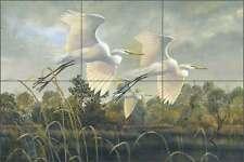 Ceramic Tile Mural Backsplash Binks Egret Wildlife Lodge Art Birds REB023