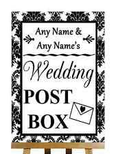 Black And White Damask Post Box Personalised Wedding Sign