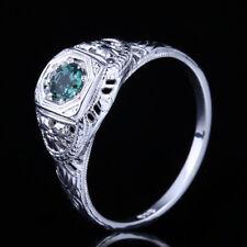 Round Verdant Green/Rose Tourmaline Antique 14K White Gold Carving Wedding Rings