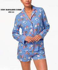 Jenni Women's pajama set Printed Notch Collar Top and Shorts S