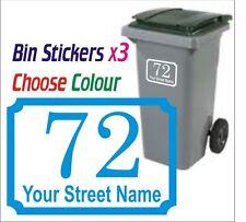 3 x Wheelie Bin Personalised Sticker Decal NUMBER/STREET Decal Self Adhesive