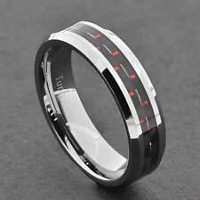 6mm Tungsten Band Red Carbon Fiber Inlay Bevel Edge Women's Wedding Band