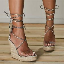 Stylish Women Sandals Platform Wedge Sandals Snake Straps Shoes Ladies Plus Sz