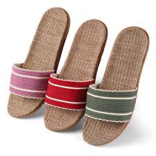 Women Ladies Striped Slide Open Toe Flat Straw Sandals Flip Flops Anti-slip Shoe