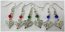 Earrings - filigree heart + beads - choice 3 colours
