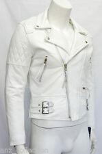 Desprado Men's White Biker Style Motorcycle Real Italian Cowhide Leather Jacket