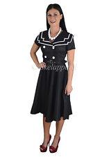 Sailor dress vintage 1940s BLACK SAILOR 50's SWING FLARED PARTY retro Dress